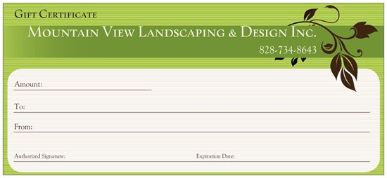 Gift Certificate - Mountain View Landscaping & Design, Inc ...